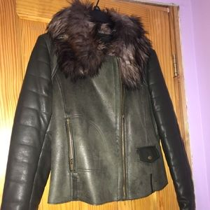 Wilsons Leather Olive Jacket w/ Faux Fur